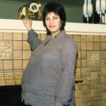 Linda the day before giving birth to her daughter